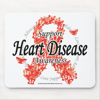 Heart Disease Ribbon of Butterflies Mouse Pad