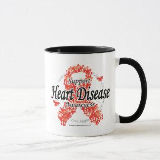 Heart Disease Ribbon of Butterflies Mug