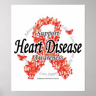 Heart Disease Ribbon of Butterflies Poster