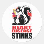 Heart Disease Stinks Round Sticker