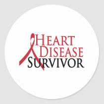 Heart Disease Survivor Classic Round Sticker