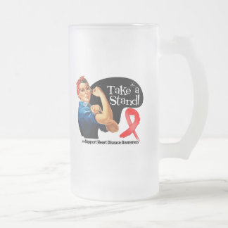 Heart Disease Take a Stand 16 Oz Frosted Glass Beer Mug