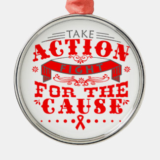 Heart Disease Take Action Fight For The Cause Round Metal Christmas Ornament