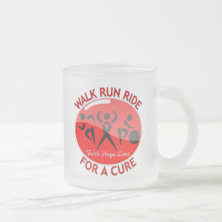 Heart Disease Walk Run Ride For A Cure 10 Oz Frosted Glass Coffee Mug