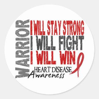 Heart Disease Warrior Classic Round Sticker