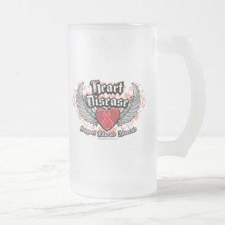 Heart Disease Wings Frosted Glass Beer Mug