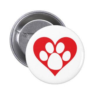 Heart Dog Paw 2 Inch Round Button