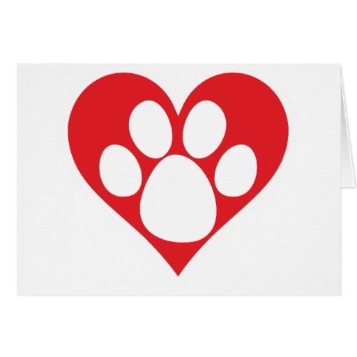 Heart Dog Paw Card