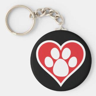 Heart Dog Paw (Dark) Keychain