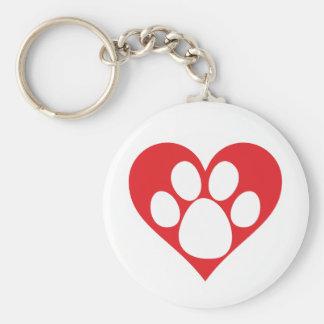 Heart Dog Paw Keychain