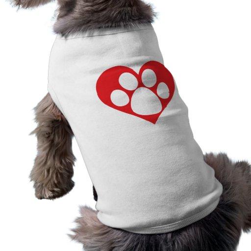 Heart Dog Paw Pet T Shirt
