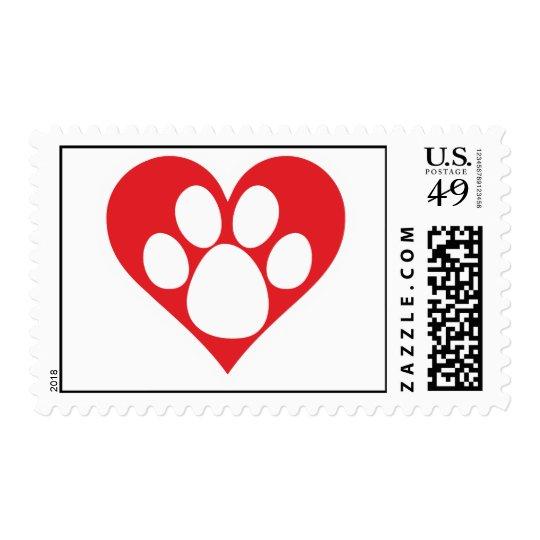 Heart Dog Paw Postage
