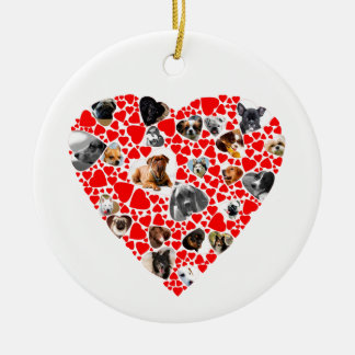 Heart Dog Photo Collage Ceramic Ornament