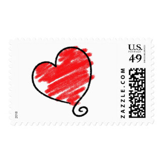 Heart Doodle Postage Stamps