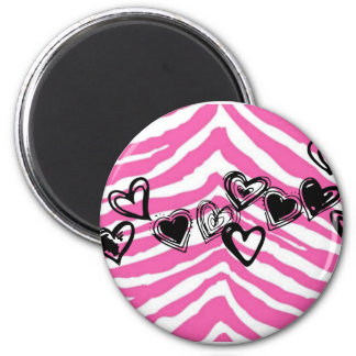 HEART DOODLES ON PINK ZEBRA PRINT 2 INCH ROUND MAGNET