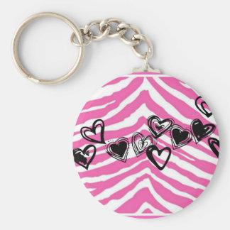 HEART DOODLES ON PINK ZEBRA PRINT BASIC ROUND BUTTON KEYCHAIN