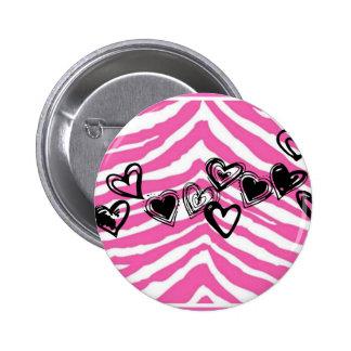 HEART DOODLES ON PINK ZEBRA PRINT BUTTON