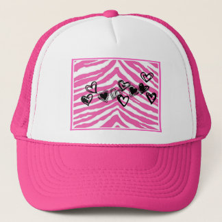 HEART DOODLES ON PINK ZEBRA PRINT TRUCKER HAT
