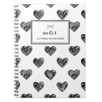 Heart Doodles Pattern Personalized Notebook