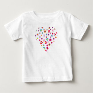 Heart Dots and Flowers Baby Fine Jersey T-Shirt