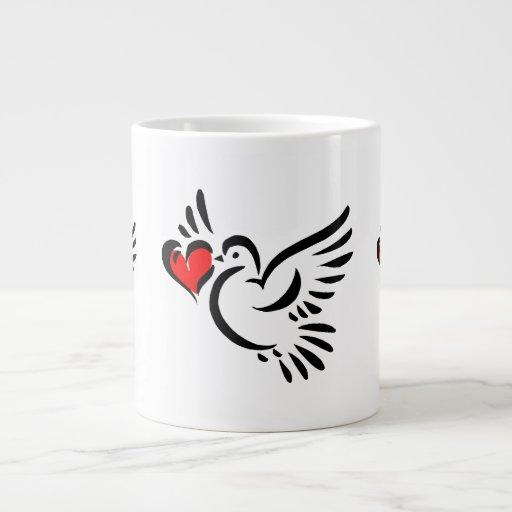 heart dove graphic love valentine 20 oz large ceramic coffee mug