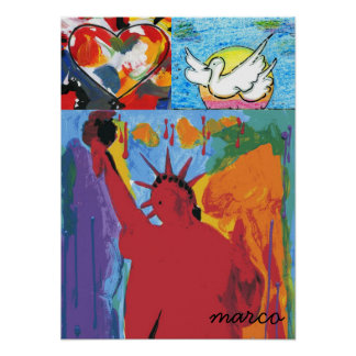 Heart dove Statue of Liberty painting Posters