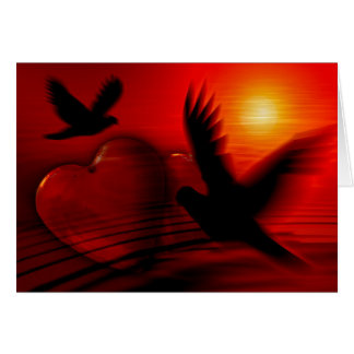 Heart, Doves and Sunset Card