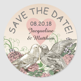 Heart Doves Rose Pink Romance Save the Date Classic Round Sticker