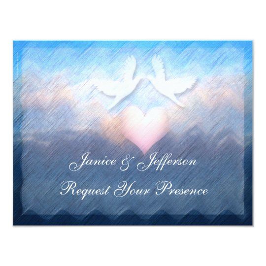 Heart Doves Sky Sea Wedding Invitation