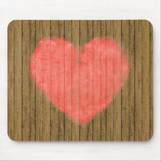Heart Drawing in Wood Wall Mousepad