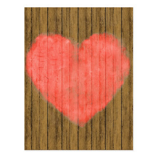 Heart Drawing in Wood Wall Postcard