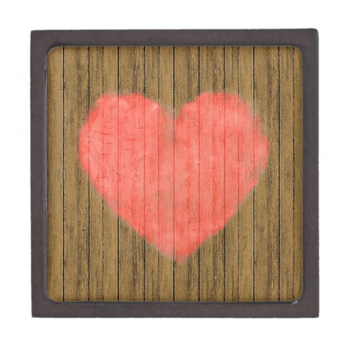 Heart Drawing in Wood Wall Premium Jewelry Box