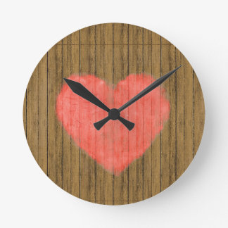 Heart Drawing in Wood Wall Round Clock