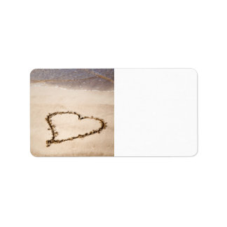 Heart Drawn in Sand at Beach - Customized Template Label