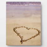 Heart Drawn in Sand at Beach - Customized Template Display Plaques