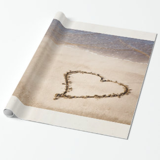 Heart Drawn in Sand at Beach Customized Template Wrapping Paper