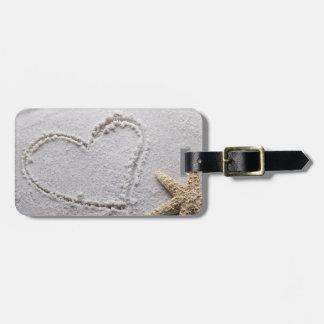 Heart Drawn in Sand at Beach w Starfish Template Bag Tag