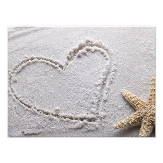 Heart Drawn in Sand at Beach w Starfish Template Photo