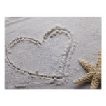 Heart Drawn in Sand at Beach w Starfish Template Poster
