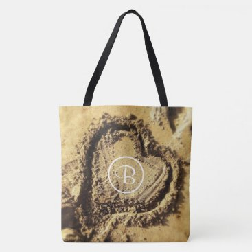Beach Themed Heart drawn in sand photo custom monogram tote bag