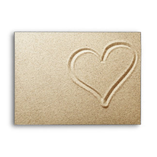 Heart Drawn In The Sand Envelope
