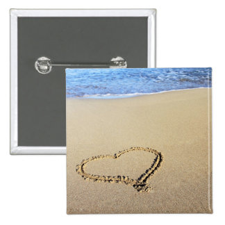 Heart Drawn in the Sand Pinback Button