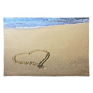Heart Drawn in the Sand Place Mats