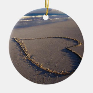 Heart Drawn on the Beach Double-Sided Ceramic Round Christmas Ornament