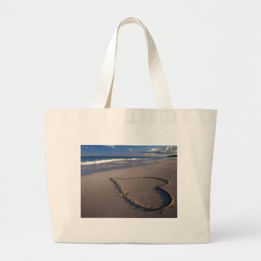 Heart Drawn on the Beach Large Tote Bag