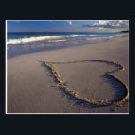 "Heart Drawn on the Beach Postcard<br><div class=""desc"">Hand drawn heart on the sand.  Tropical beach with waves washing onto the shore.</div>"