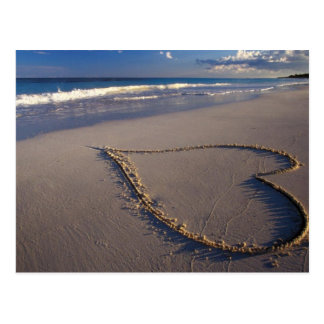 Heart Drawn on the Beach Postcard
