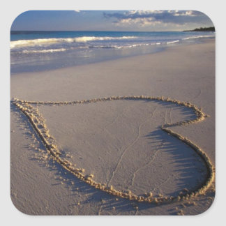 Heart Drawn on the Beach Square Sticker