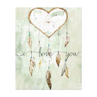 Heart Dream Catcher Watercolor Love Canvas Print