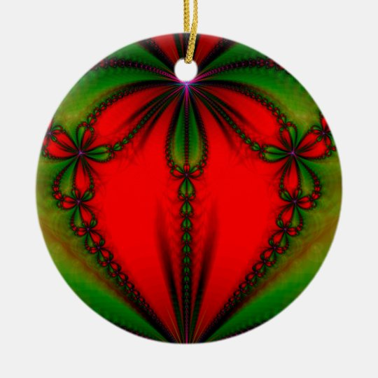 Heart Drop Fractal Ceramic Ornament